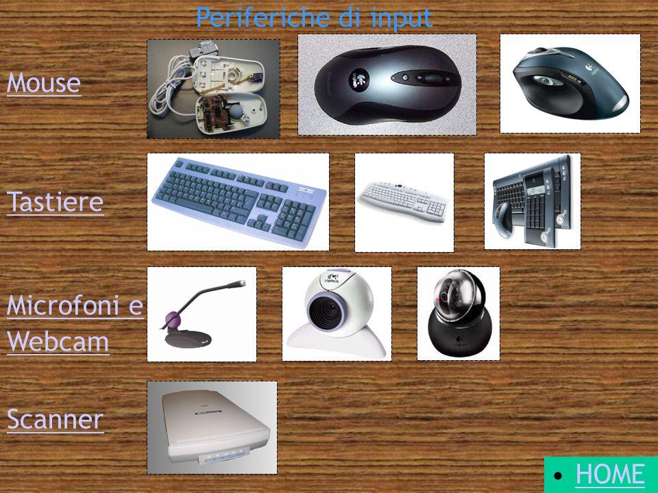 Periferiche di input Mouse Tastiere Microfoni e Webcam Scanner HOME
