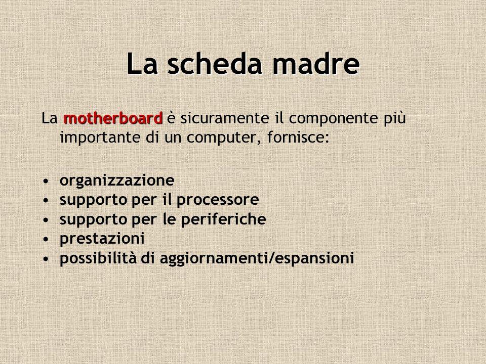 La scheda madre La motherboard è sicuramente il componente più importante di un computer, fornisce: