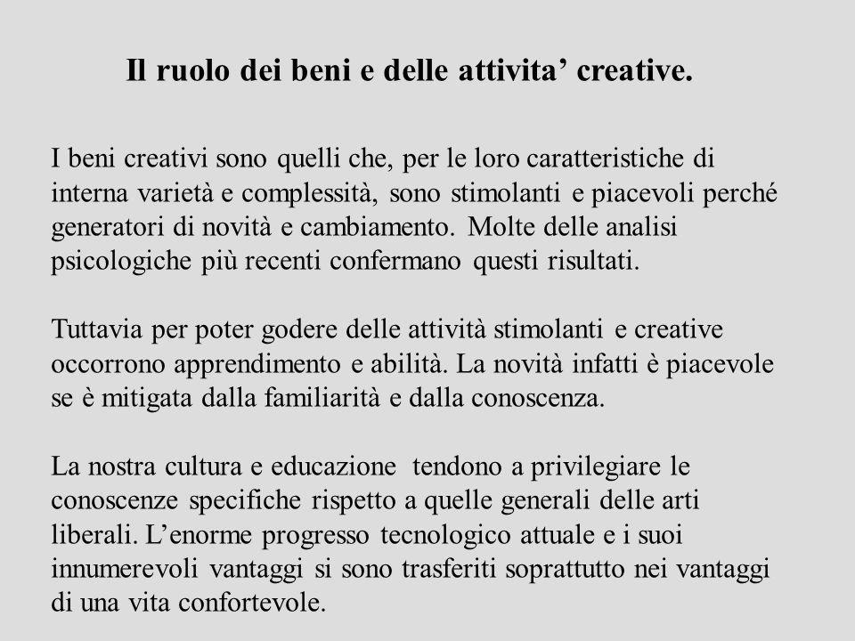 Il ruolo dei beni e delle attivita' creative.