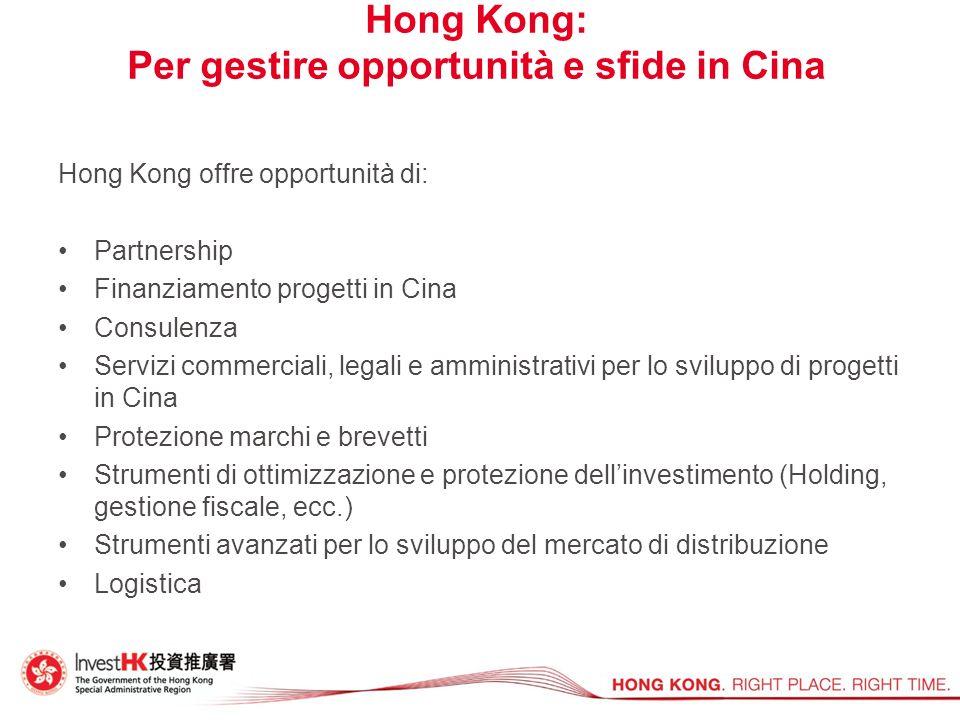Hong Kong: Per gestire opportunità e sfide in Cina