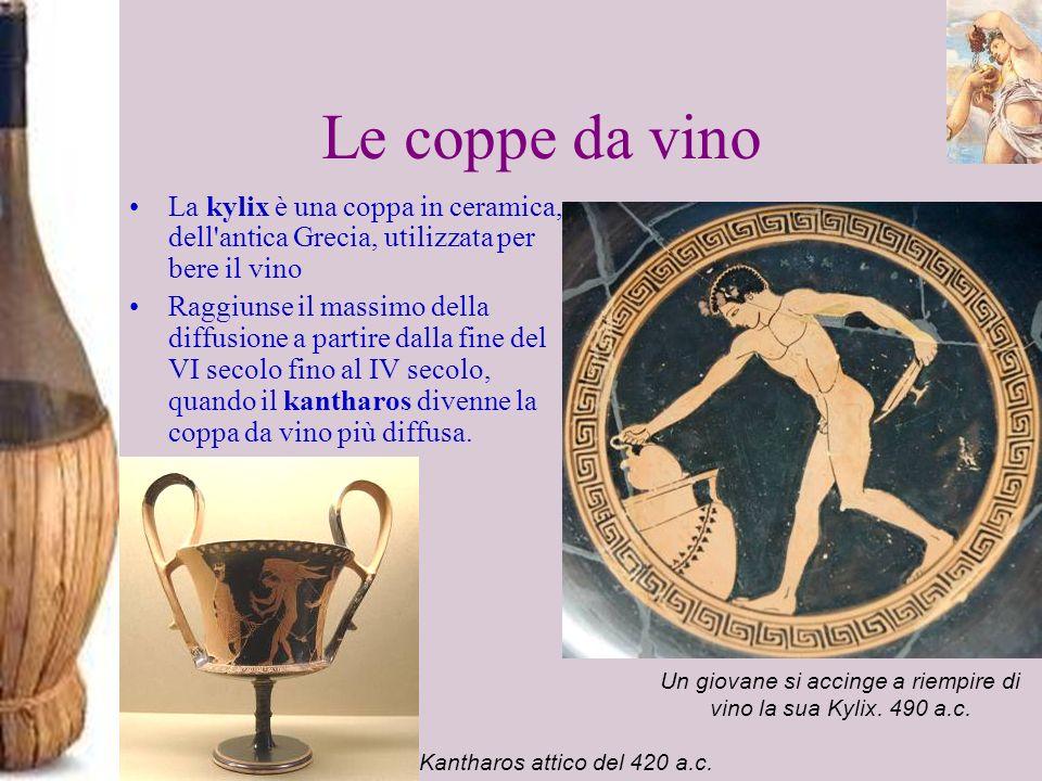 Le coppe da vino La kylix è una coppa in ceramica, dell antica Grecia, utilizzata per bere il vino.