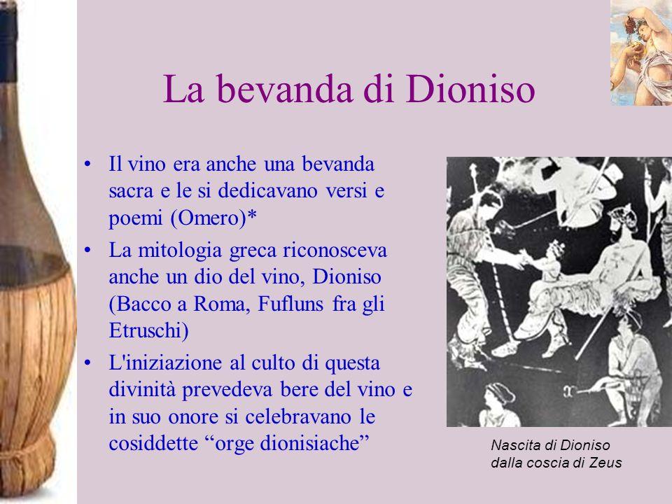 La bevanda di Dioniso Il vino era anche una bevanda sacra e le si dedicavano versi e poemi (Omero)*