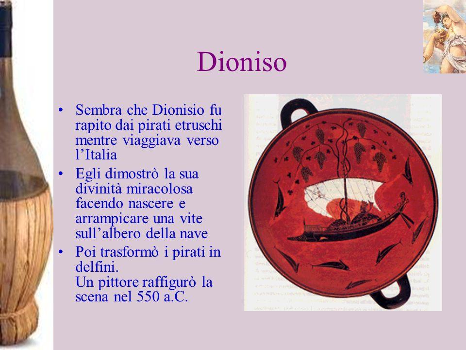 DionisoSembra che Dionisio fu rapito dai pirati etruschi mentre viaggiava verso l'Italia.