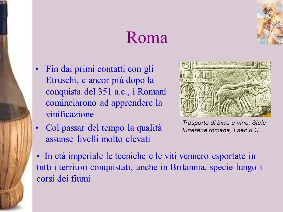 RomaFin dai primi contatti con gli Etruschi, e ancor più dopo la conquista del 351 a.c., i Romani cominciarono ad apprendere la vinificazione.