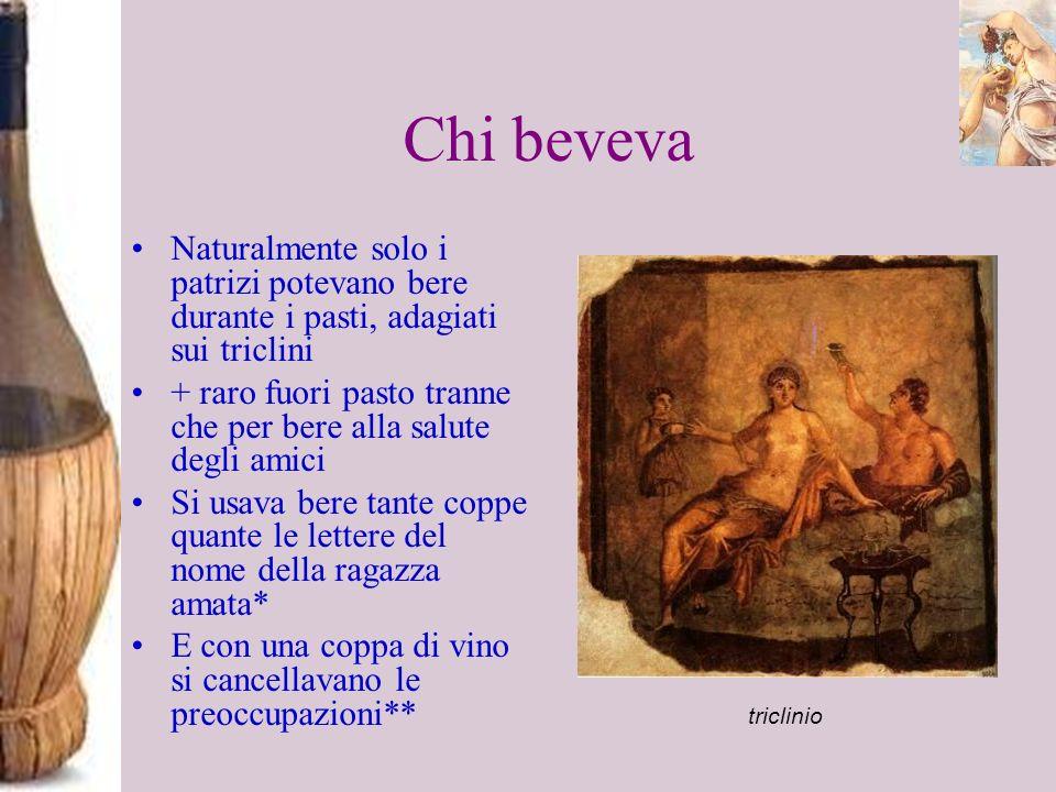 Chi beveva Naturalmente solo i patrizi potevano bere durante i pasti, adagiati sui triclini.