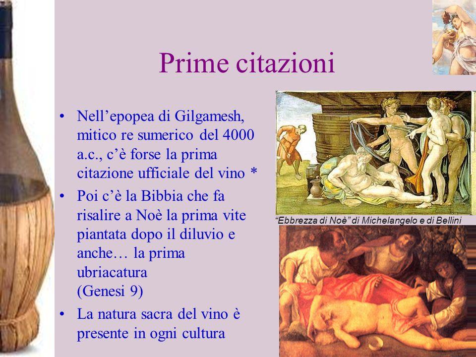 Prime citazioniNell'epopea di Gilgamesh, mitico re sumerico del 4000 a.c., c'è forse la prima citazione ufficiale del vino *