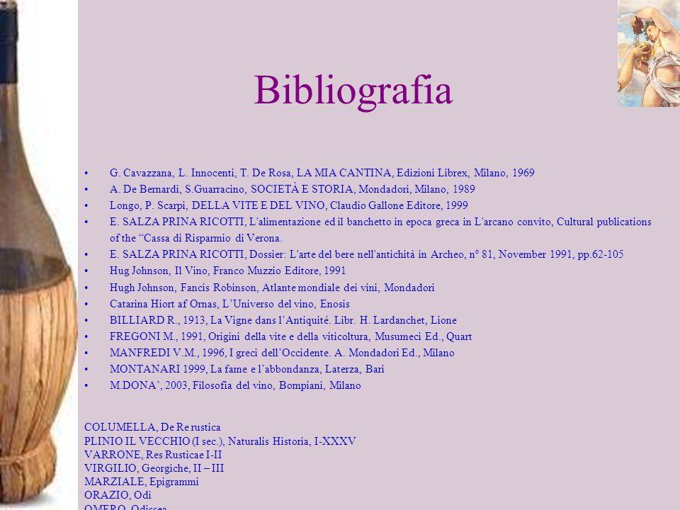 Bibliografia G. Cavazzana, L. Innocenti, T. De Rosa, LA MIA CANTINA, Edizioni Librex, Milano, 1969.