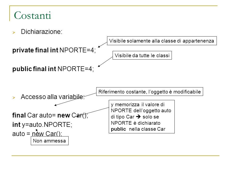 Costanti Dichiarazione: private final int NPORTE=4;