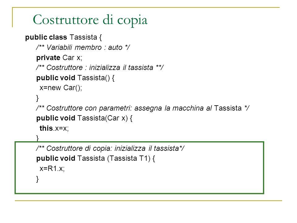 Costruttore di copia public class Tassista {