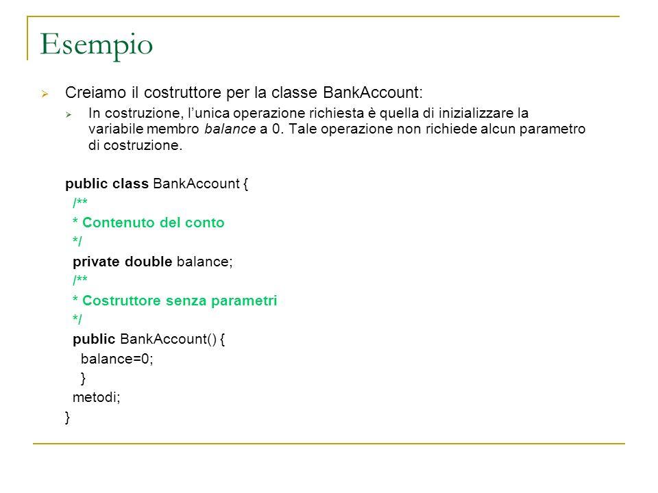Esempio Creiamo il costruttore per la classe BankAccount: