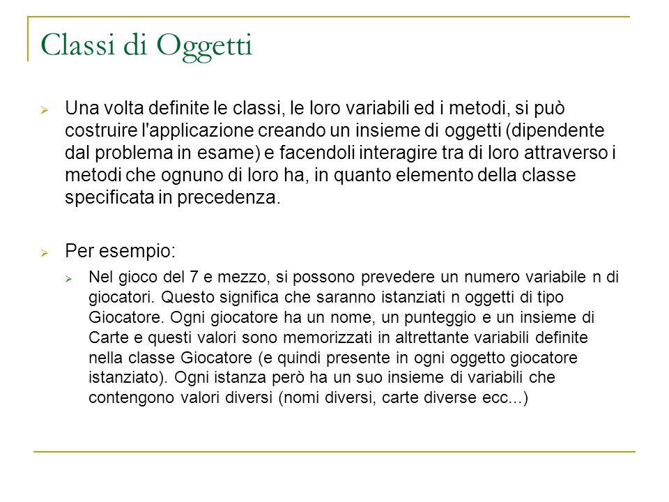 Classi di Oggetti