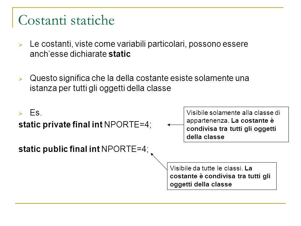 Costanti statiche Le costanti, viste come variabili particolari, possono essere anch'esse dichiarate static.