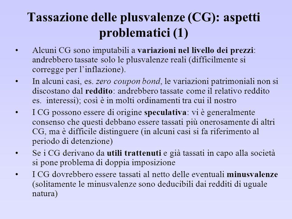 Tassazione delle plusvalenze (CG): aspetti problematici (1)