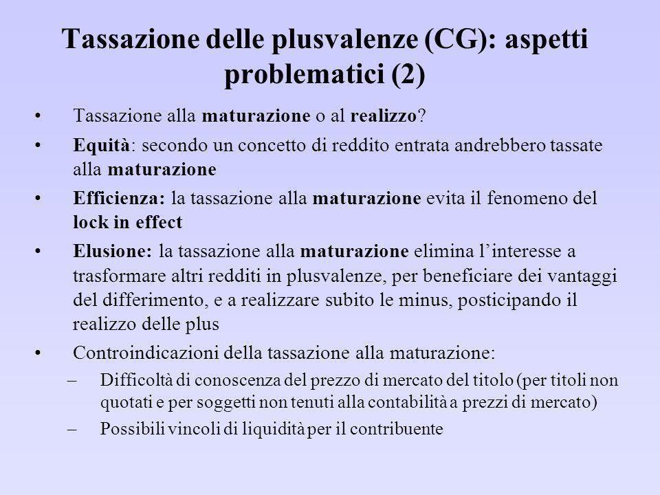 Tassazione delle plusvalenze (CG): aspetti problematici (2)