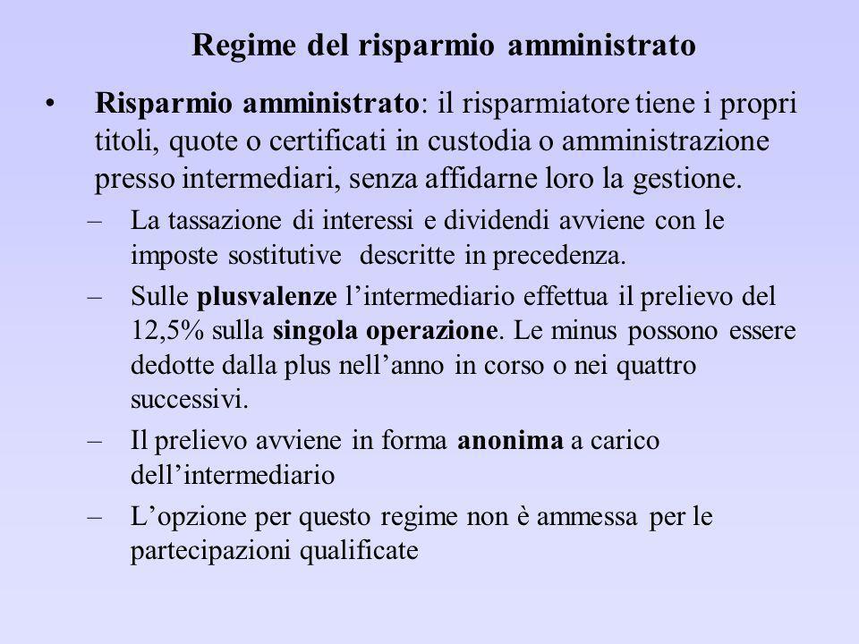 Regime del risparmio amministrato
