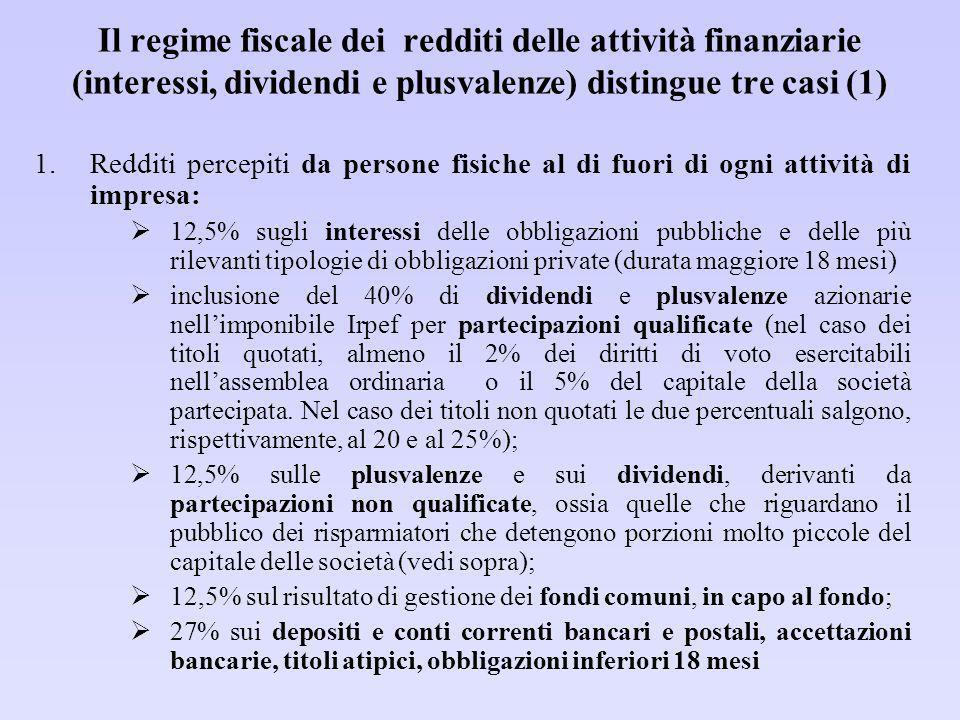 Il regime fiscale dei redditi delle attività finanziarie (interessi, dividendi e plusvalenze) distingue tre casi (1)