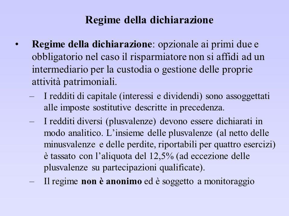 Regime della dichiarazione