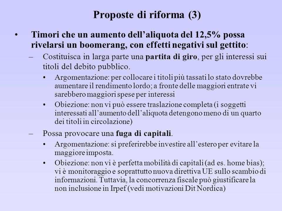 Proposte di riforma (3) Timori che un aumento dell'aliquota del 12,5% possa rivelarsi un boomerang, con effetti negativi sul gettito: