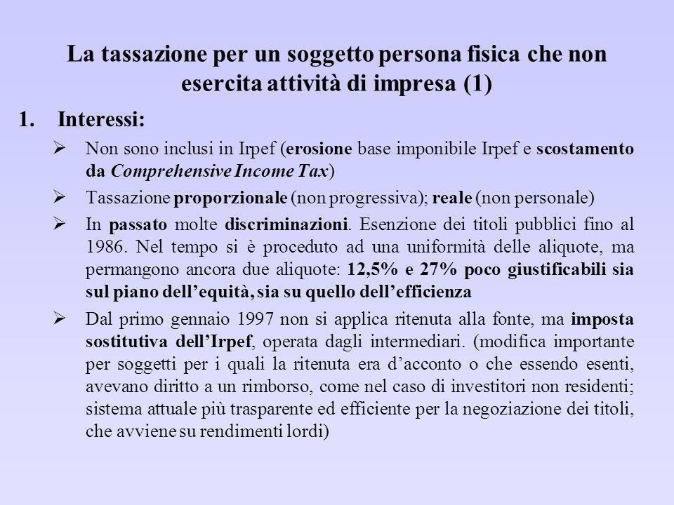 La tassazione per un soggetto persona fisica che non esercita attività di impresa (1)