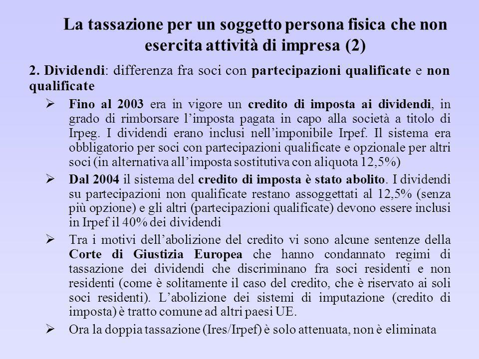La tassazione per un soggetto persona fisica che non esercita attività di impresa (2)