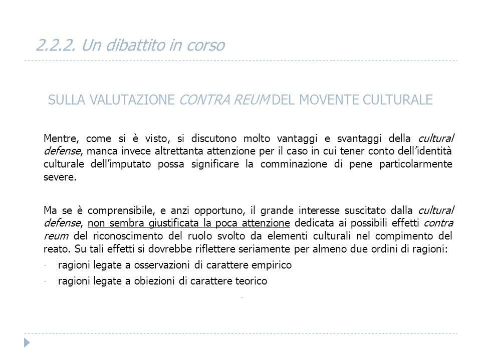 SULLA VALUTAZIONE CONTRA REUM DEL MOVENTE CULTURALE