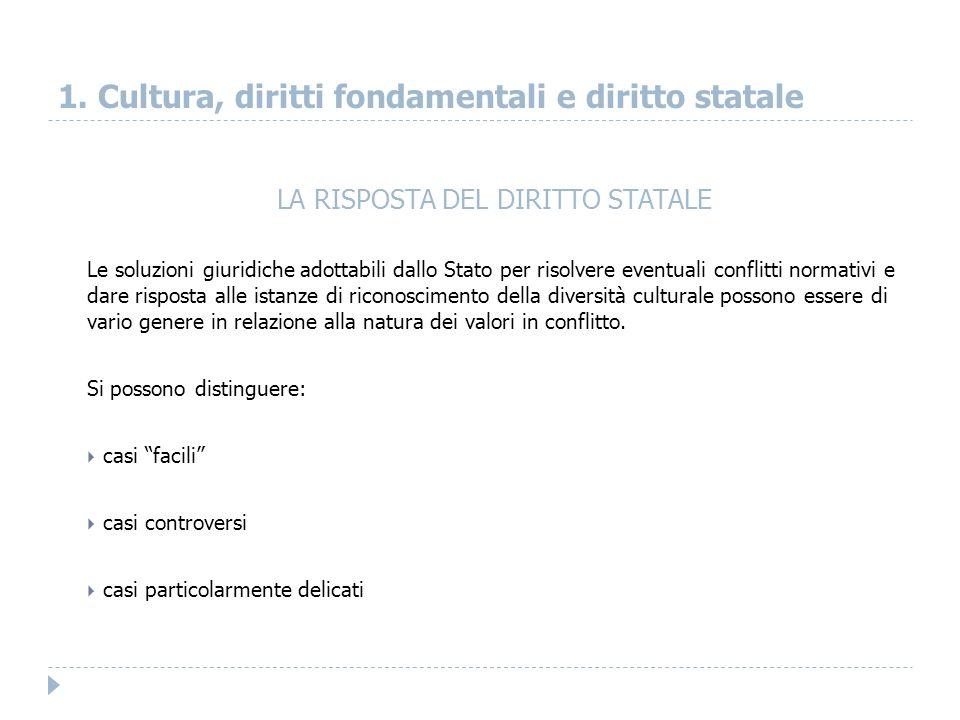 1. Cultura, diritti fondamentali e diritto statale