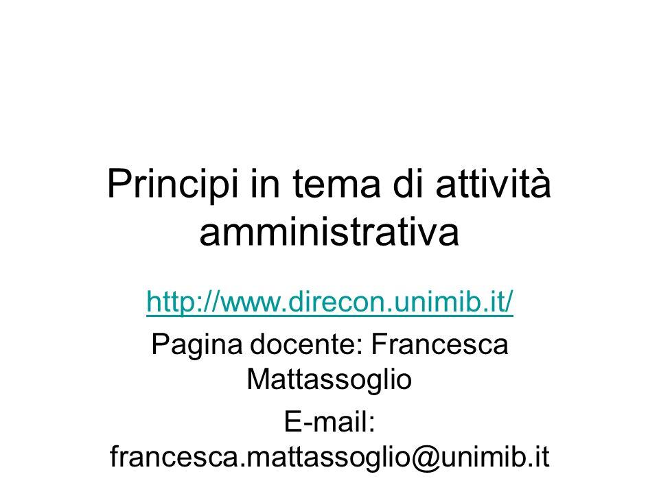 Principi in tema di attività amministrativa