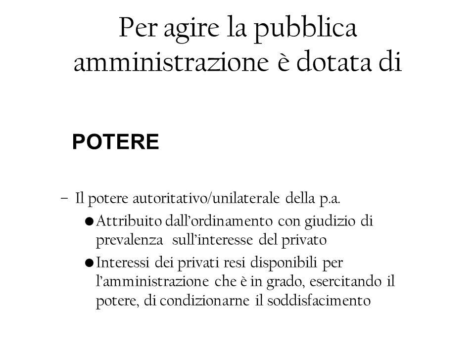 Per agire la pubblica amministrazione è dotata di