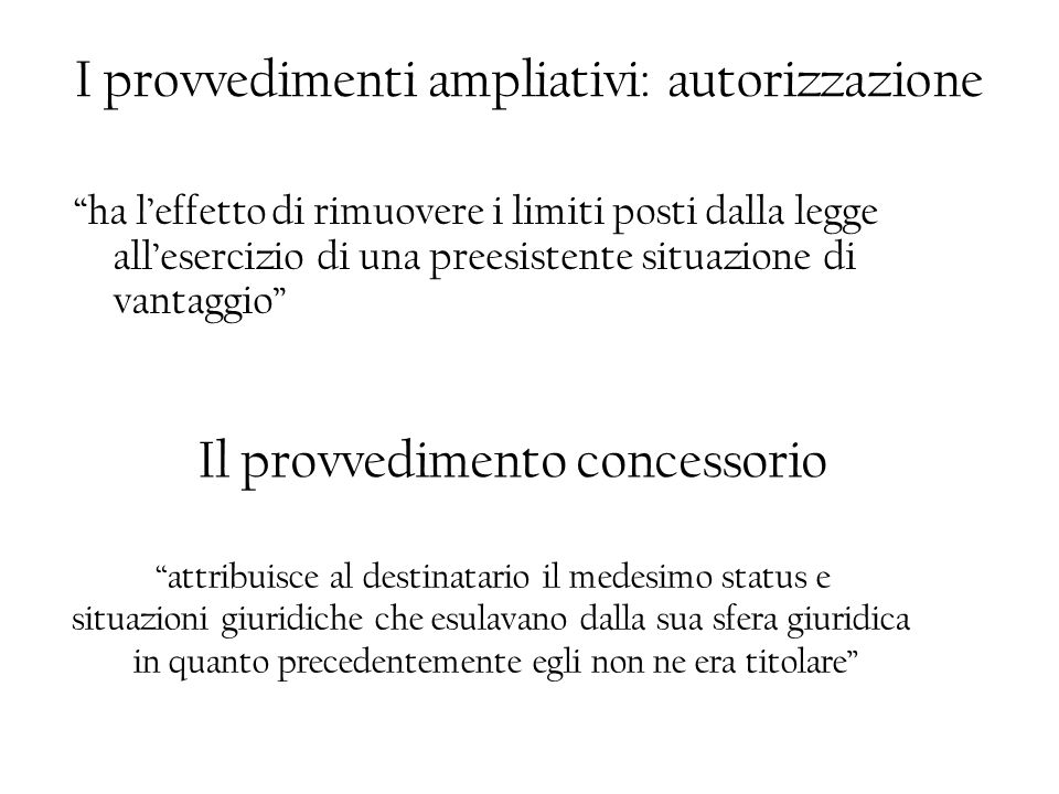 I provvedimenti ampliativi: autorizzazione