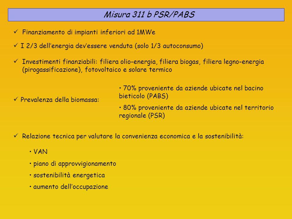 Misura 311 b PSR/PABS Finanziamento di impianti inferiori ad 1MWe