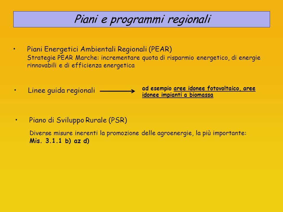 Piani e programmi regionali
