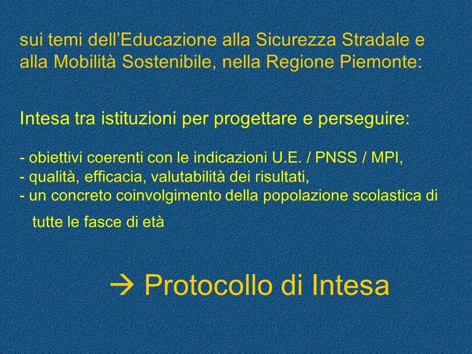 sui temi dell'Educazione alla Sicurezza Stradale e alla Mobilità Sostenibile, nella Regione Piemonte: Intesa tra istituzioni per progettare e perseguire: - obiettivi coerenti con le indicazioni U.E. / PNSS / MPI, - qualità, efficacia, valutabilità dei risultati, - un concreto coinvolgimento della popolazione scolastica di tutte le fasce di età  Protocollo di Intesa
