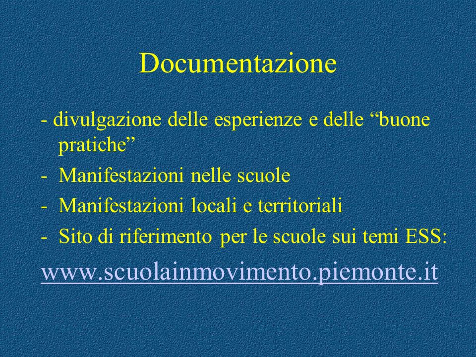 Documentazione www.scuolainmovimento.piemonte.it