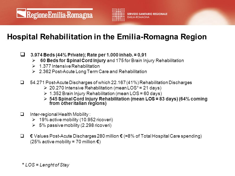 Hospital Rehabilitation in the Emilia-Romagna Region