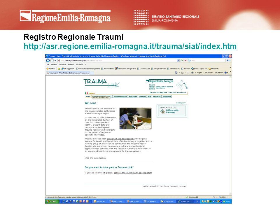Registro Regionale Traumi http://asr. regione. emilia-romagna