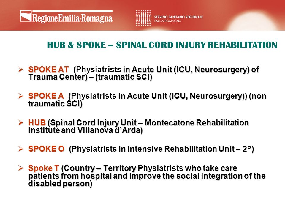 HUB & SPOKE – SPINAL CORD INJURY REHABILITATION