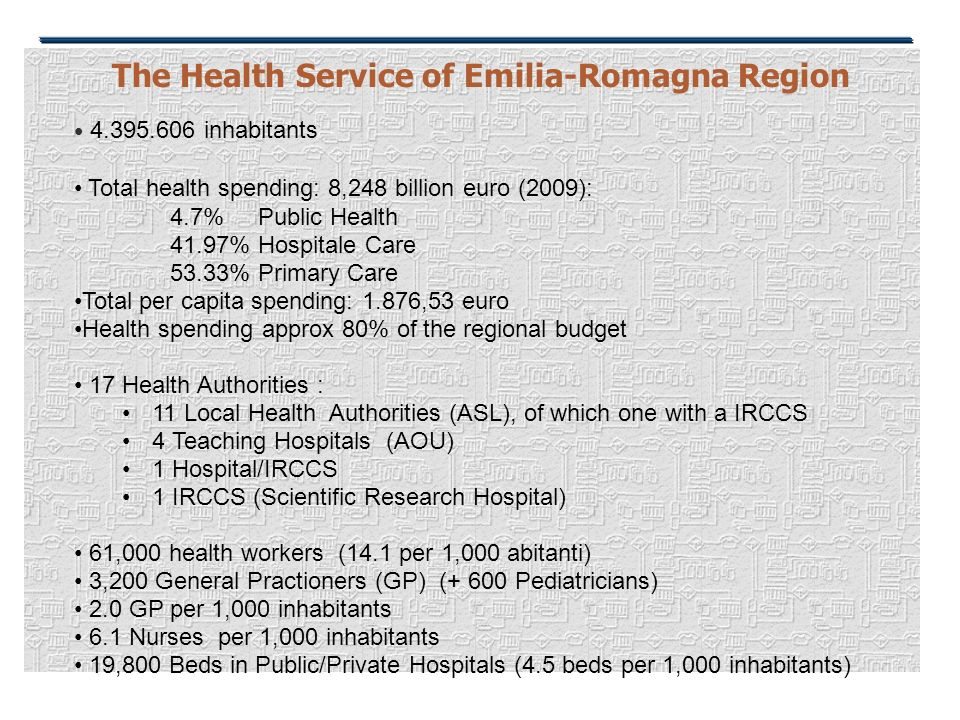 The Health Service of Emilia-Romagna Region