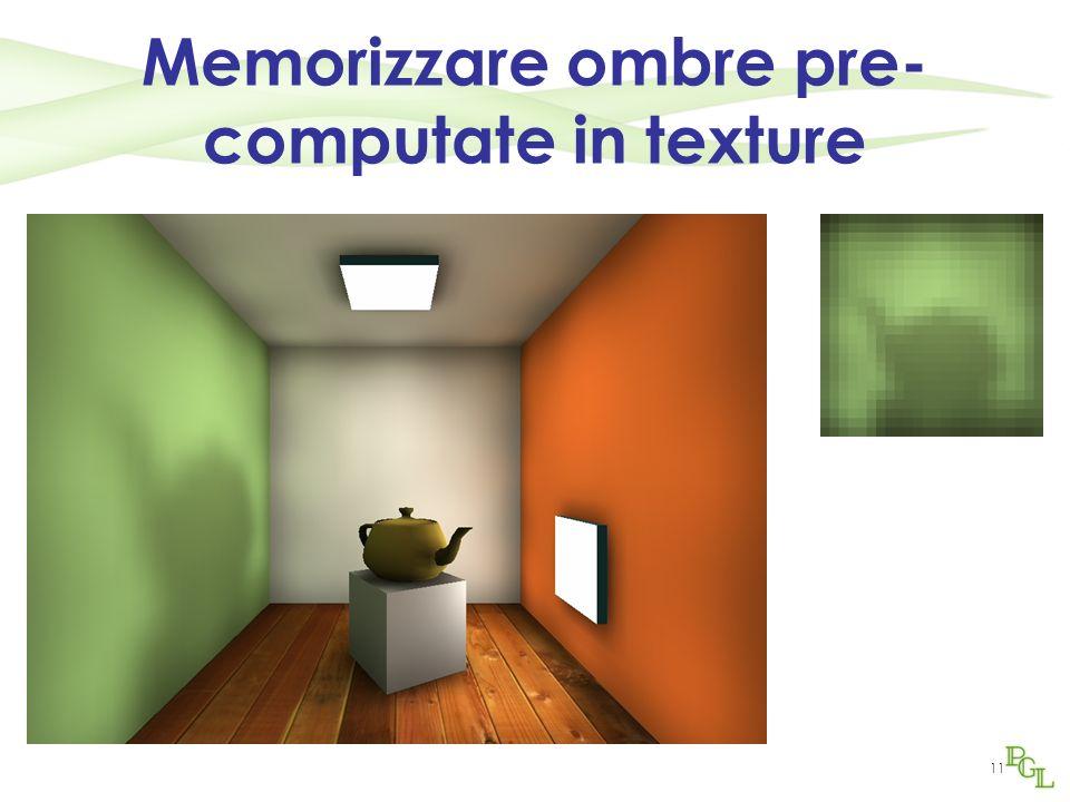 Memorizzare ombre pre-computate in texture