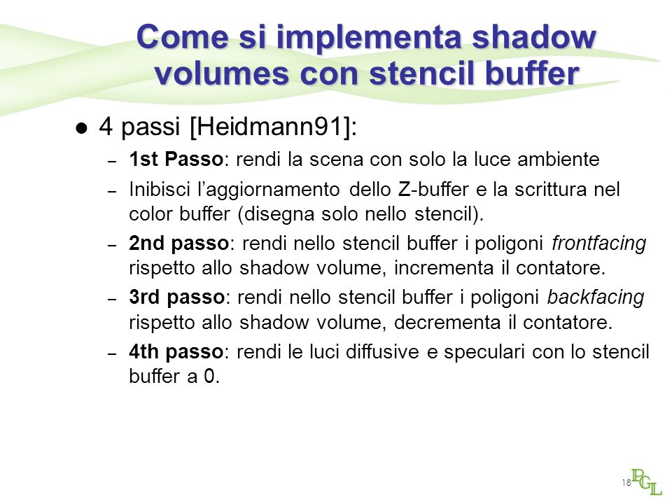 Come si implementa shadow volumes con stencil buffer