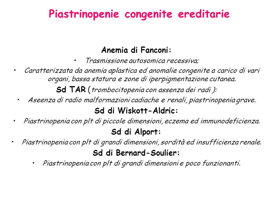 Piastrinopenie congenite ereditarie