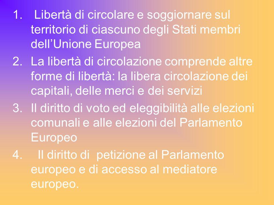 Libertà di circolare e soggiornare sul territorio di ciascuno degli Stati membri dell'Unione Europea