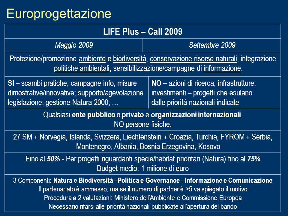 Europrogettazione LIFE Plus – Call 2009 Maggio 2009 Settembre 2009