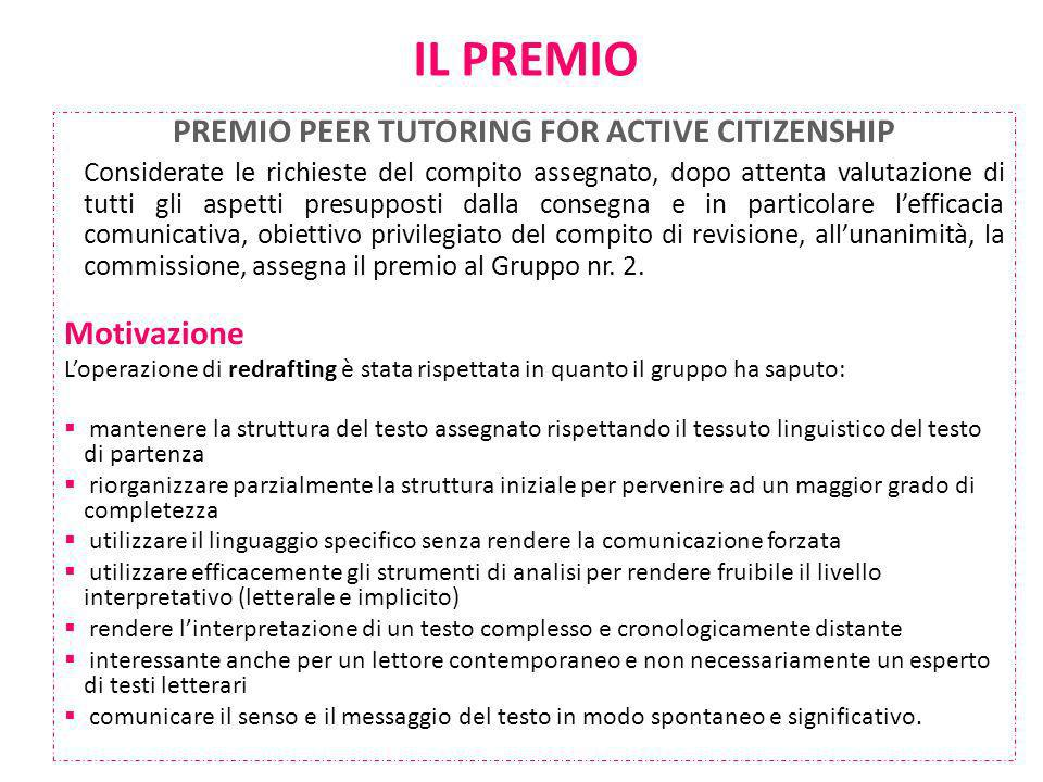 PREMIO PEER TUTORING FOR ACTIVE CITIZENSHIP