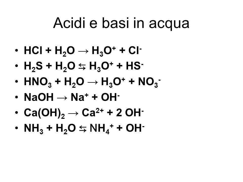 Acidi e basi in acqua HCl + H2O → H3O+ + Cl- H2S + H2O ⇆ H3O+ + HS-