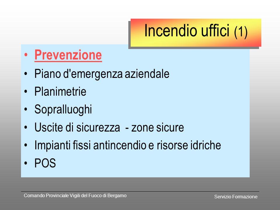 Incendio uffici (1) Prevenzione Piano d emergenza aziendale