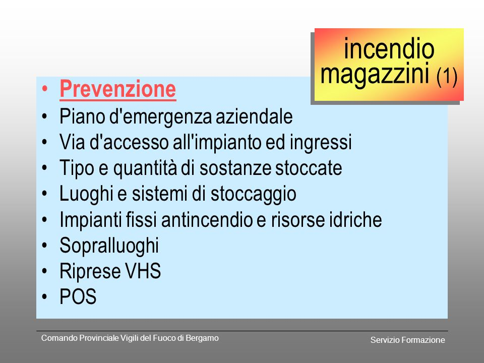 incendio magazzini (1) Prevenzione Piano d emergenza aziendale