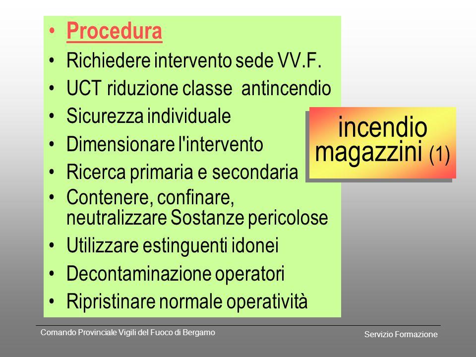 incendio magazzini (1) Procedura Richiedere intervento sede VV.F.