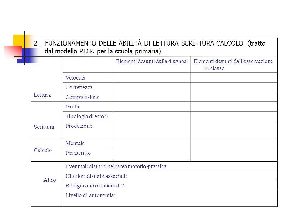 2 _ FUNZIONAMENTO DELLE ABILITÀ DI LETTURA SCRITTURA CALCOLO (tratto dal modello P.D.P. per la scuola primaria)