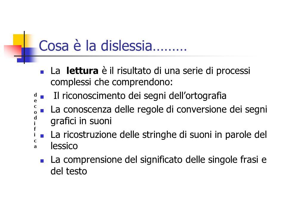 Cosa è la dislessia………La lettura è il risultato di una serie di processi complessi che comprendono: