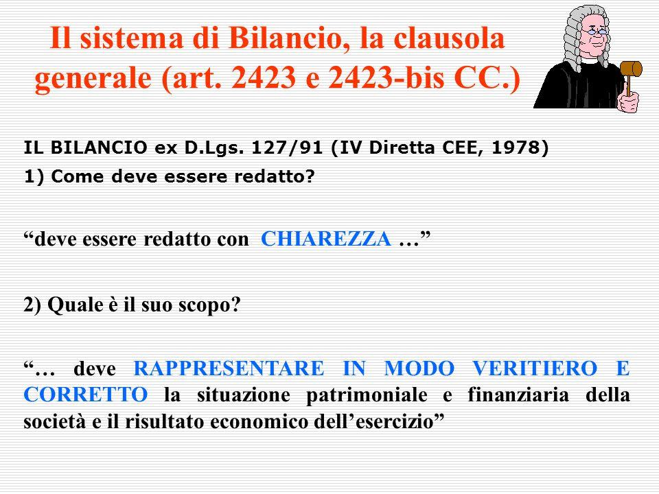 Il sistema di Bilancio, la clausola generale (art. 2423 e 2423-bis CC